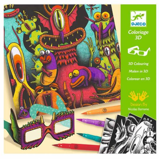 Coloriage effet 3D - Funny Freaks Djeco - 1