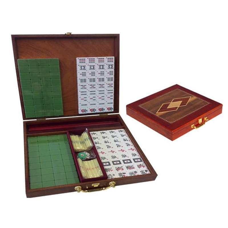 Mahjong coffret en bois marqueté