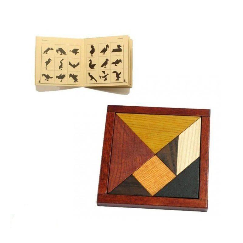 Tangram en bois avec cadre Fabrication Jura jeu de société Guy JEANDEL tradition