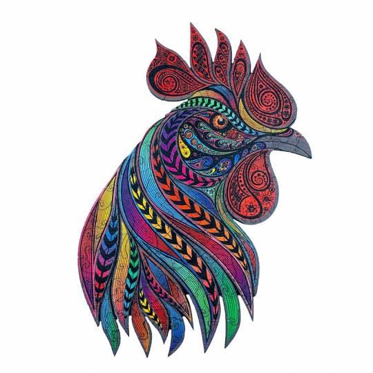 Le Coq Chanteur - Puzzle Créatif en bois S Puzzle Creatif - 1