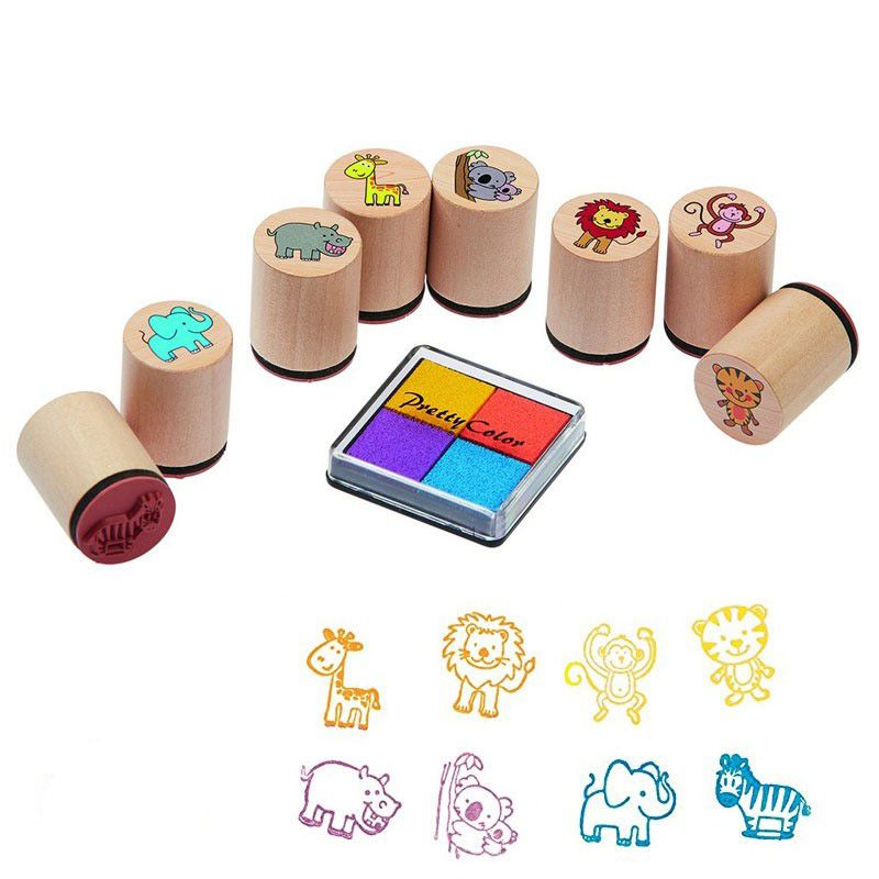 tampons encreurs 8 animaux 4 couleurs jeux et jouets en. Black Bedroom Furniture Sets. Home Design Ideas