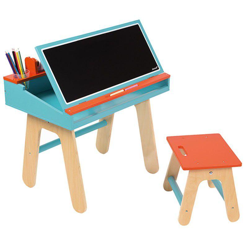 bureau et chaise orange et bleu jouet pour enfant janod. Black Bedroom Furniture Sets. Home Design Ideas