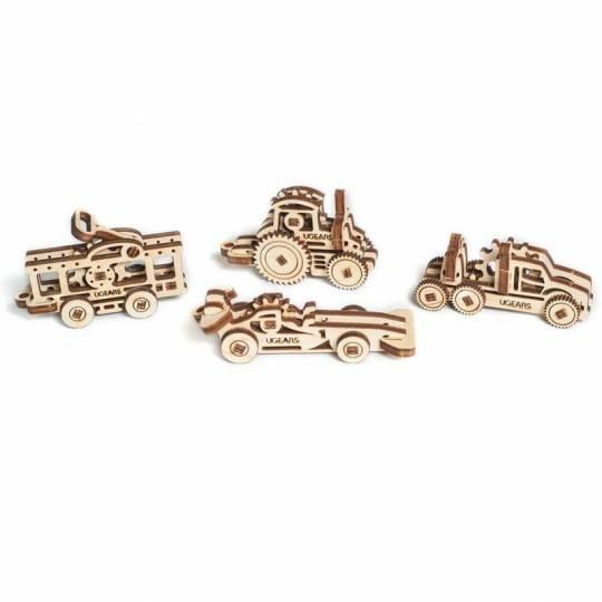 U-Fidget Véhicules - 4 pièces - Puzzle 3d Mécanique en bois UGEARS - 1