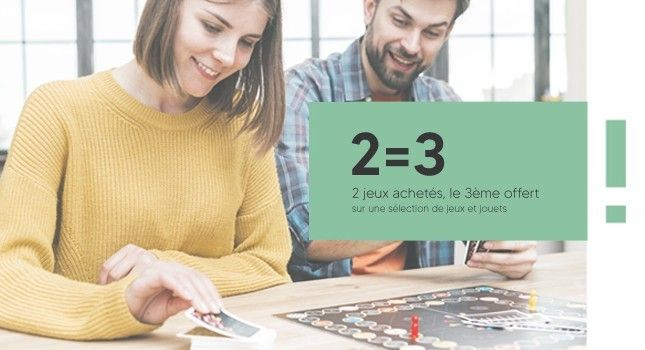 promo 2 = 3 avec 2 jeux achetés, le 3ème offert sur une sélection de jeu et de jouet à prix mini